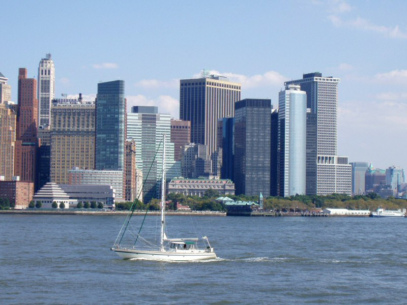 Manhattan with sailboat
