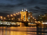 Cincinnati suspension bridge by twilight