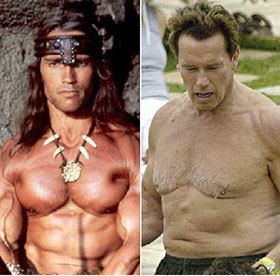 Arnold Schwarzenegger, in his prime and in his governorship